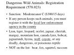 dangerous wild animals registration requirement 578 023