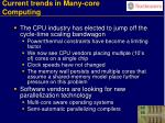 current trends in many core computing