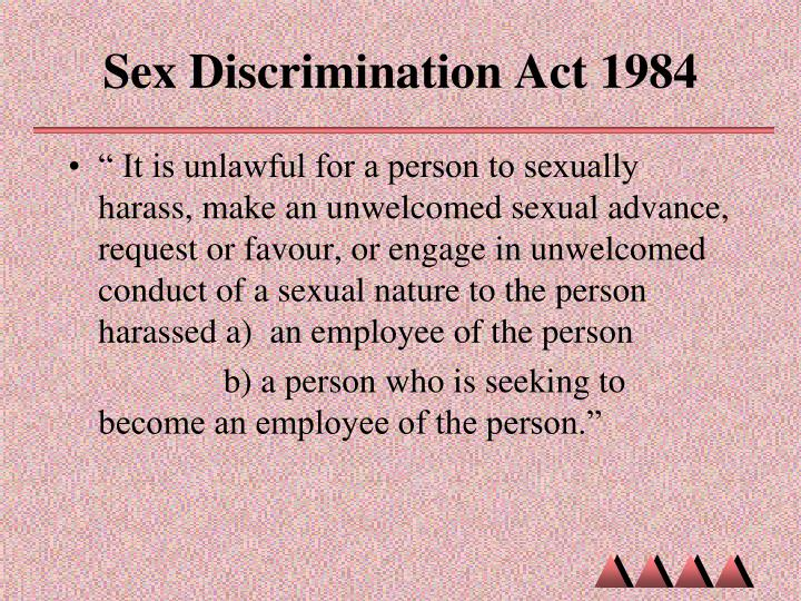 What is the sex discrimination act 1984 think