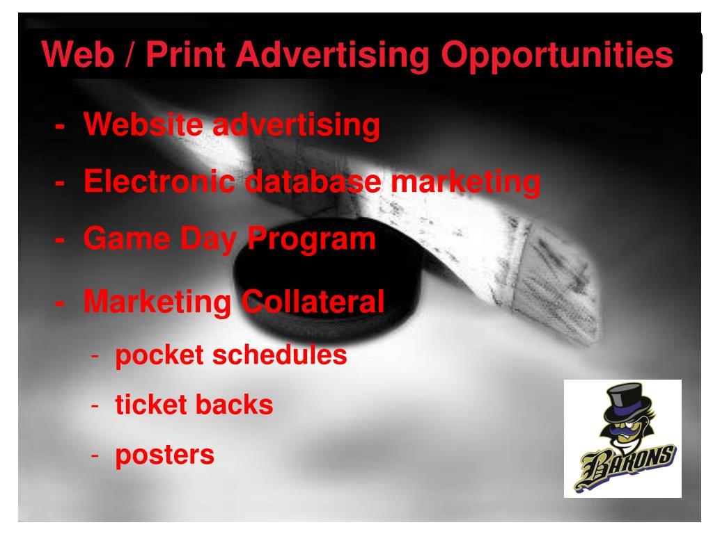 Web / Print Advertising Opportunities