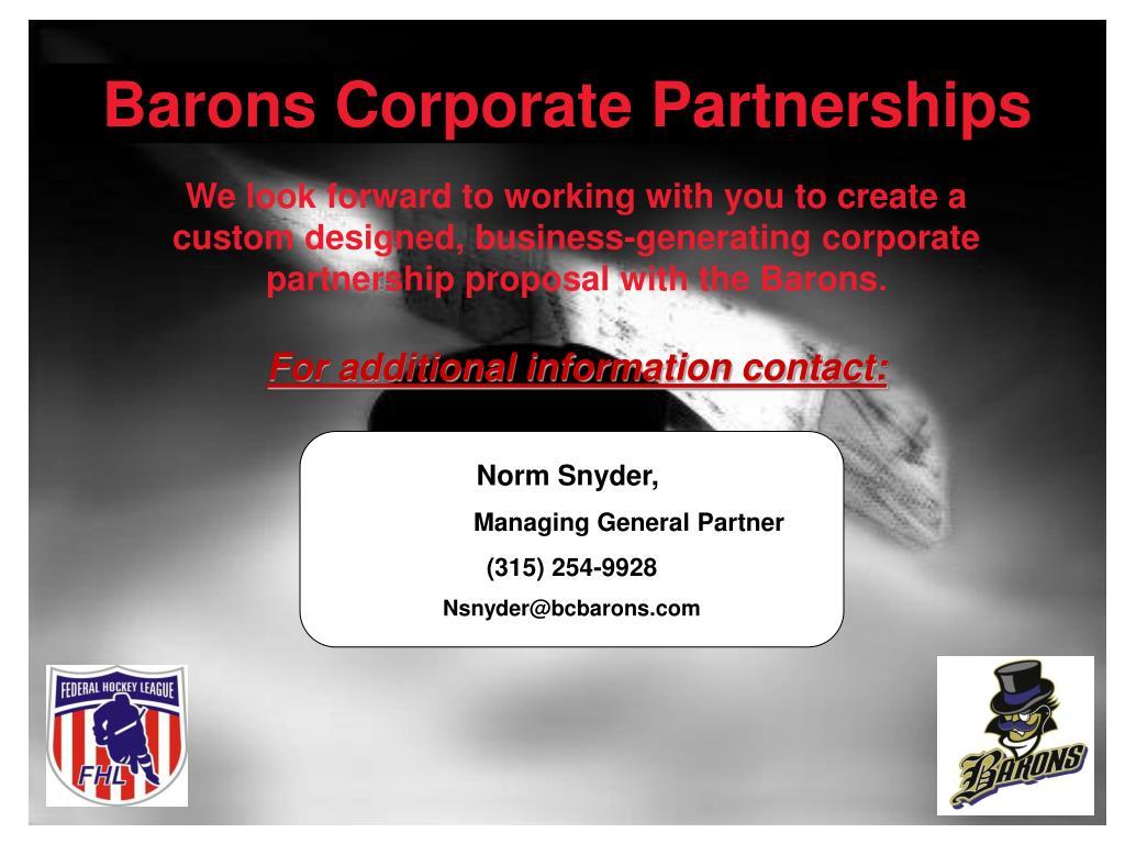 Barons Corporate Partnerships