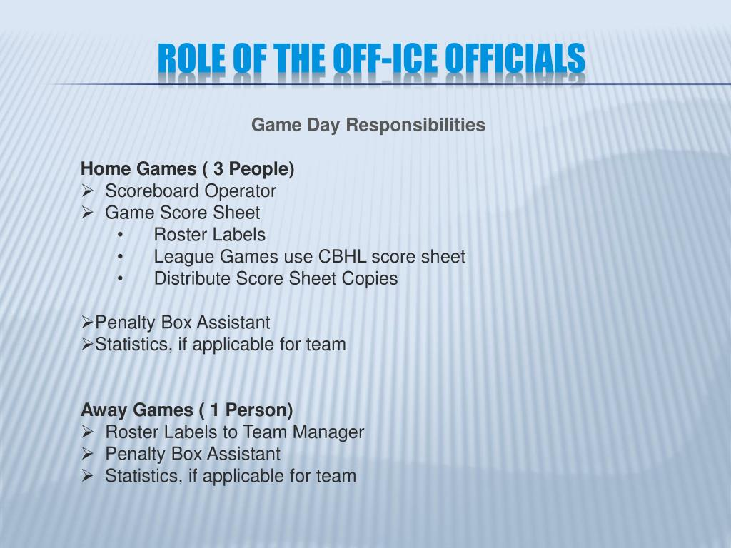 Role of the Off-Ice Officials