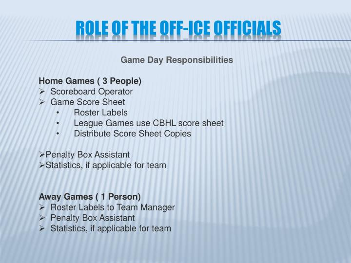 Role of the off ice officials