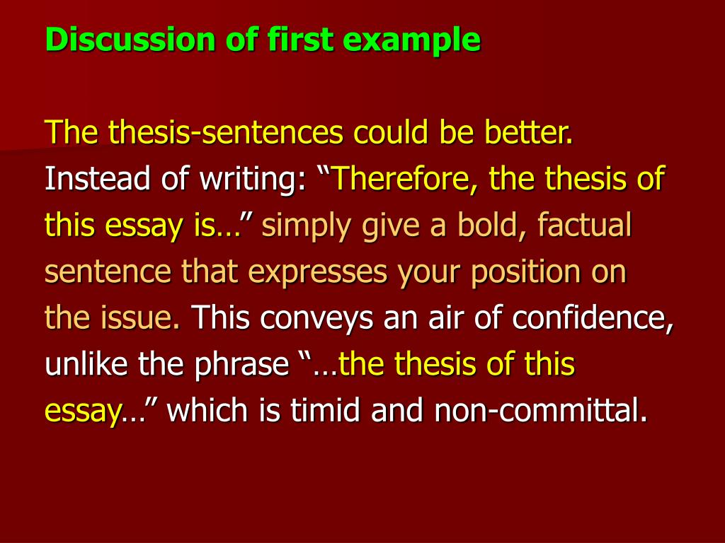 Discussion of first example