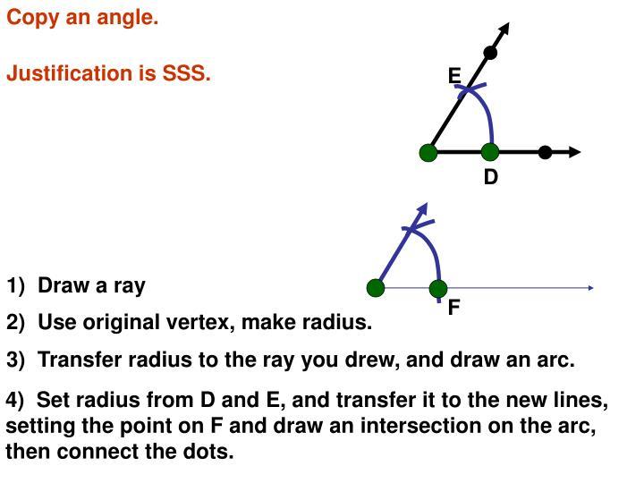 Copy an angle.