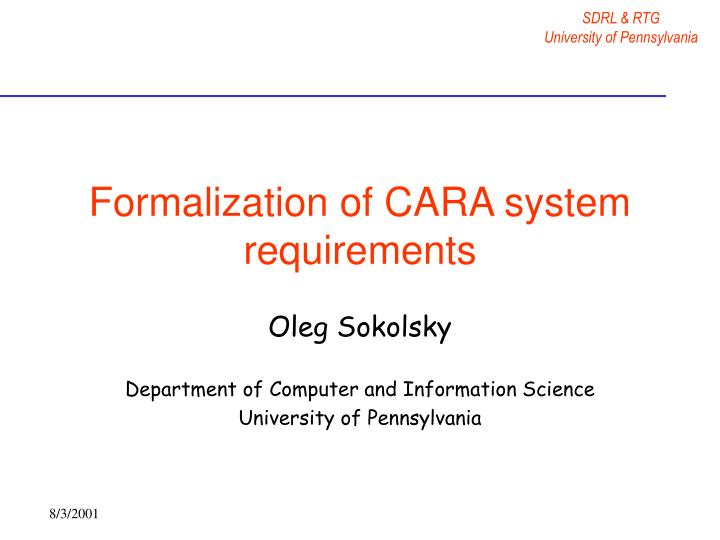 formalization of cara system requirements n.