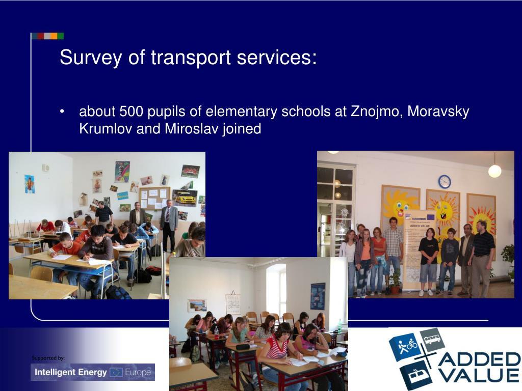 Survey of transport services: