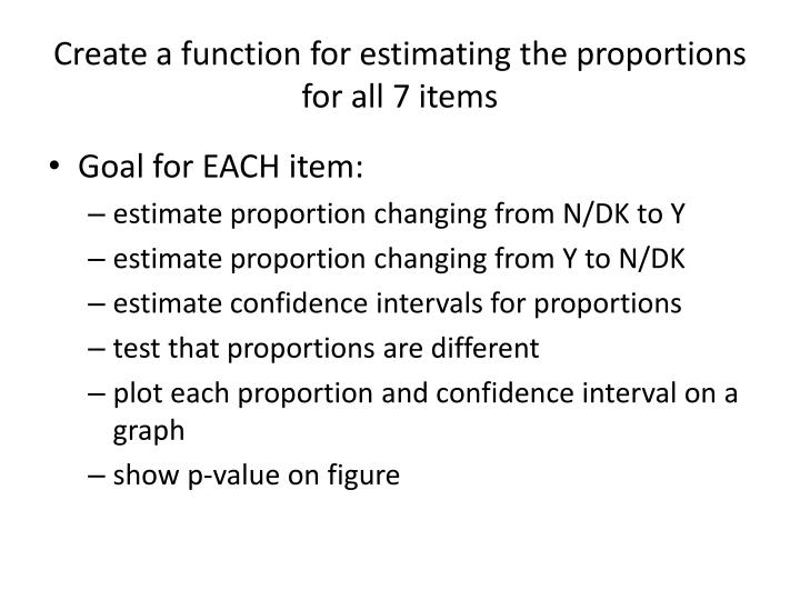 Create a function for estimating the proportions for all 7 items