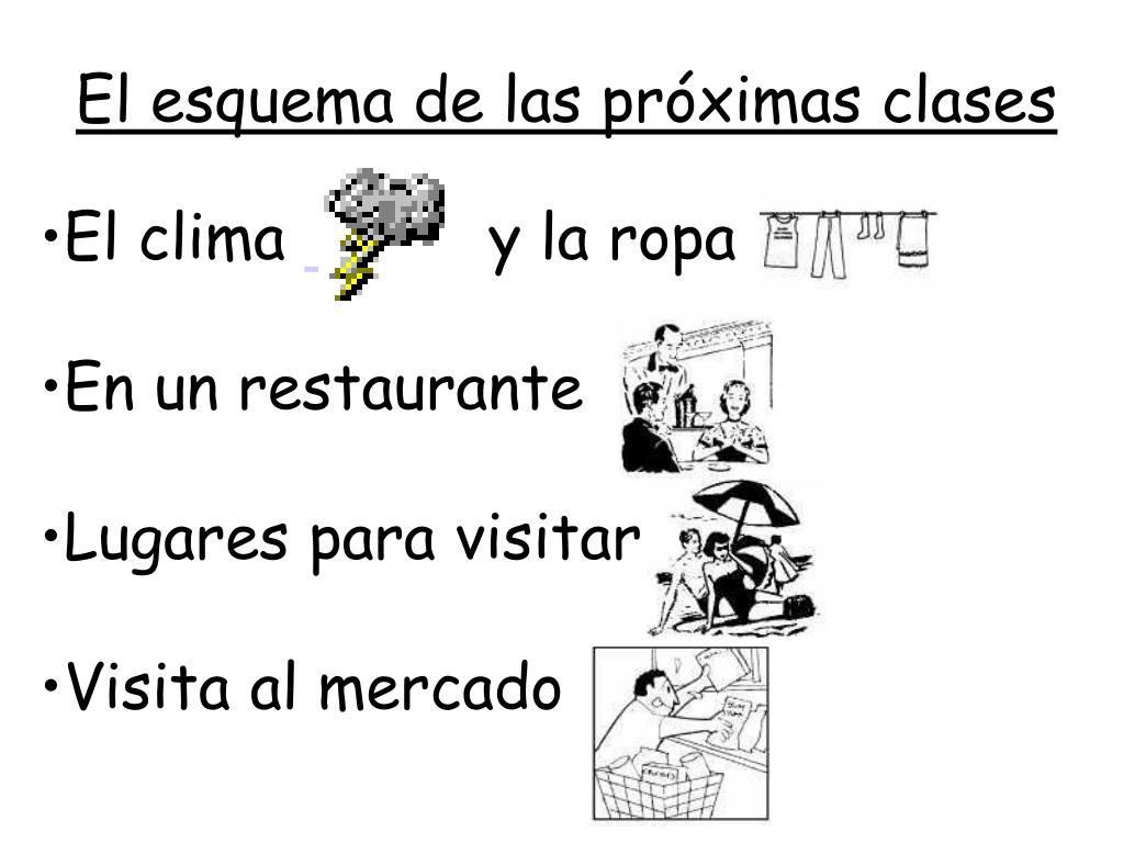 El esquema de las próximas clases