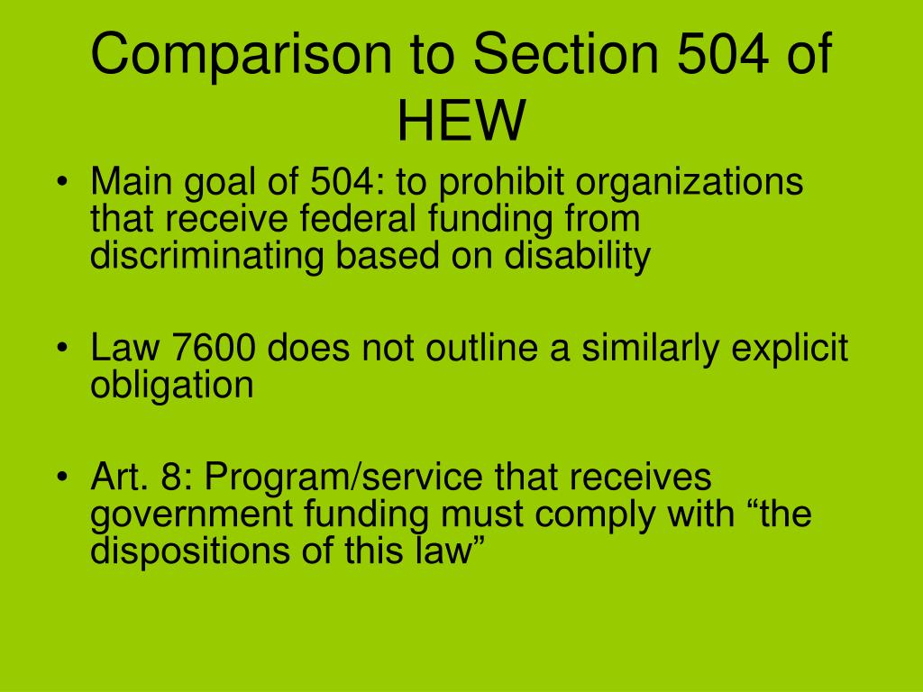 Comparison to Section 504 of HEW