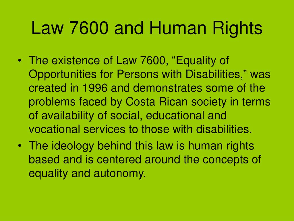 Law 7600 and Human Rights