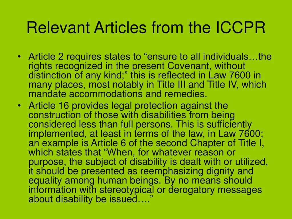 Relevant Articles from the ICCPR