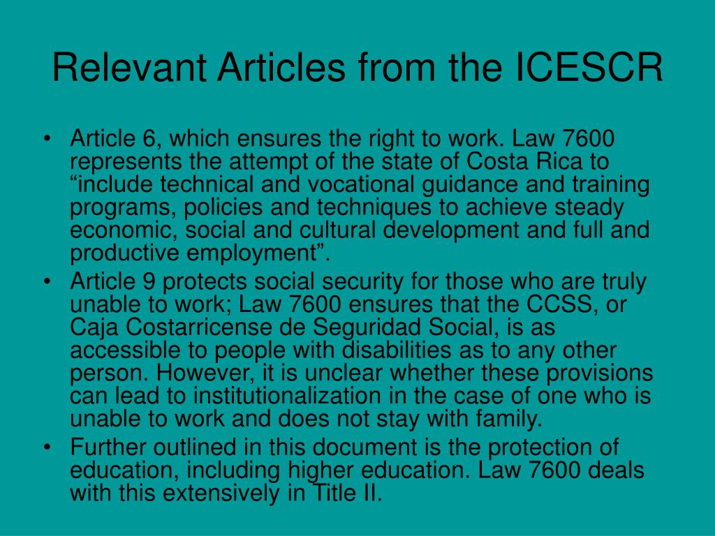 Relevant Articles from the ICESCR