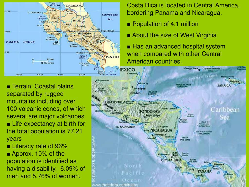 Costa Rica is located in Central America, bordering Panama and Nicaragua.