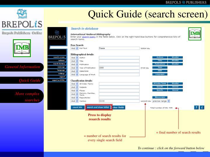 Quick Guide (search screen)