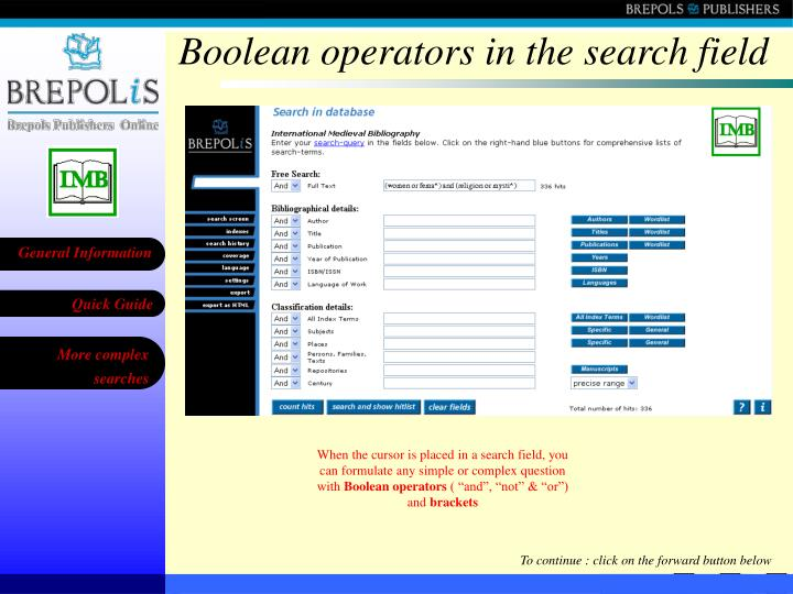 Boolean operators in the search field
