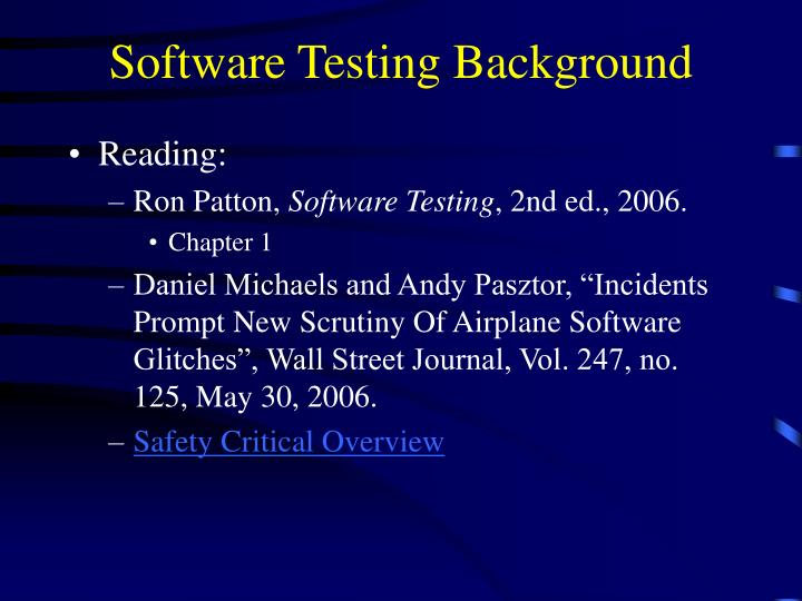 software testing background n.