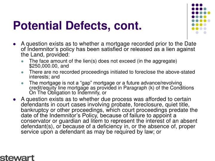 Potential Defects, cont.