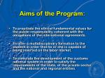 aims of the program