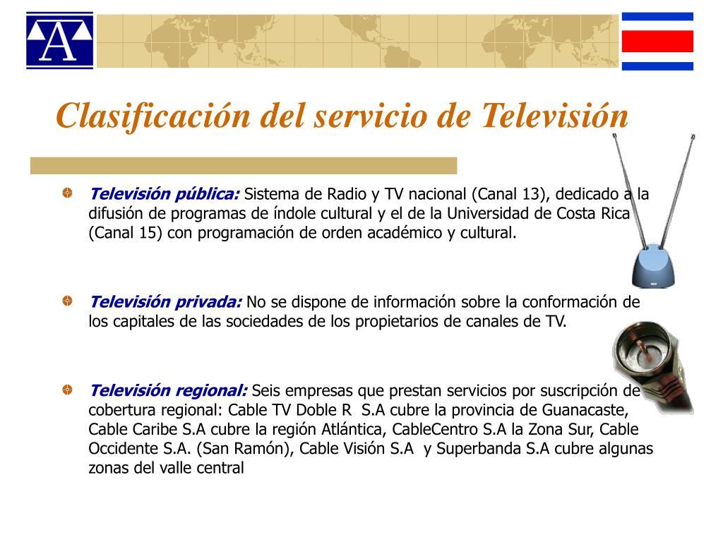 Clasificación del servicio de Televisión