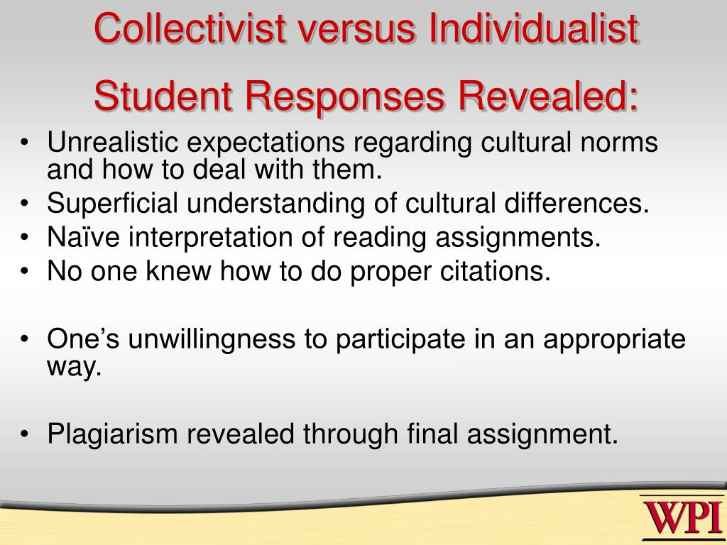 Collectivist versus Individualist