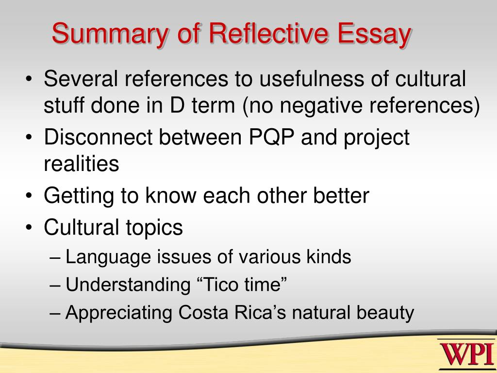 Summary of Reflective Essay