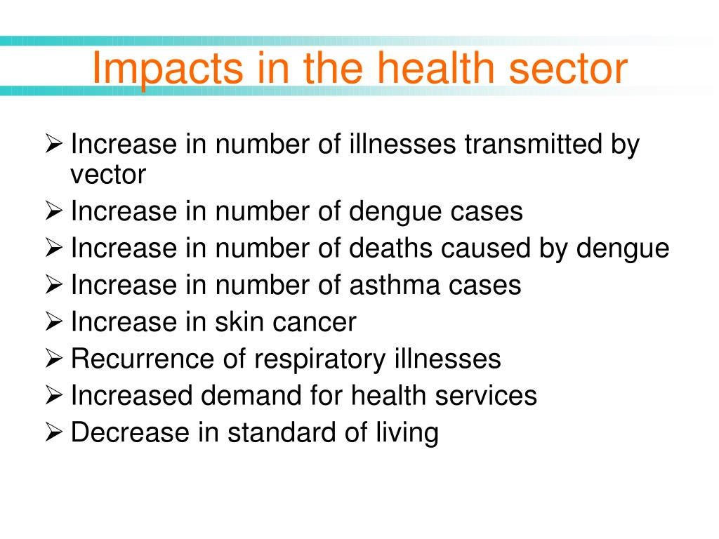 Impacts in the health sector