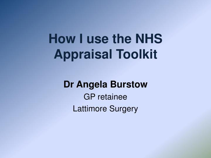 how i use the nhs appraisal toolkit n.