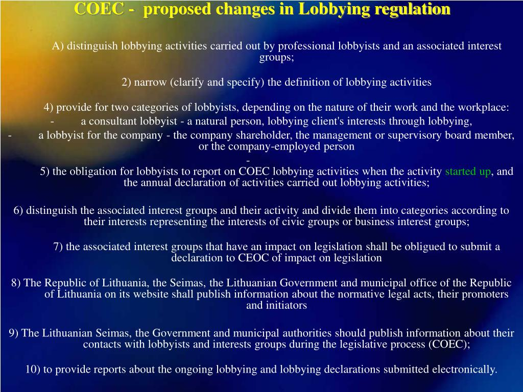COEC -  proposed changes in Lobbying regulation