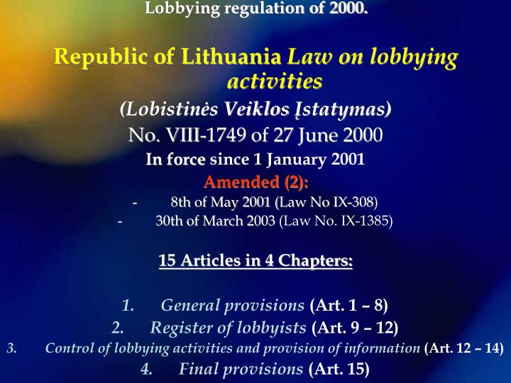 Lobbying regulation of 2000