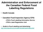 administration and enforcement of the canadian federal food labelling regulations