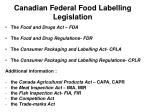 canadian federal food labelling legislation