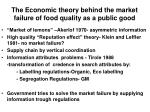 the economic theory behind the market failure of food quality as a public good