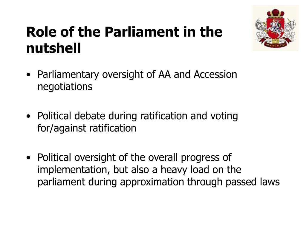 Role of the Parliament in the nutshell