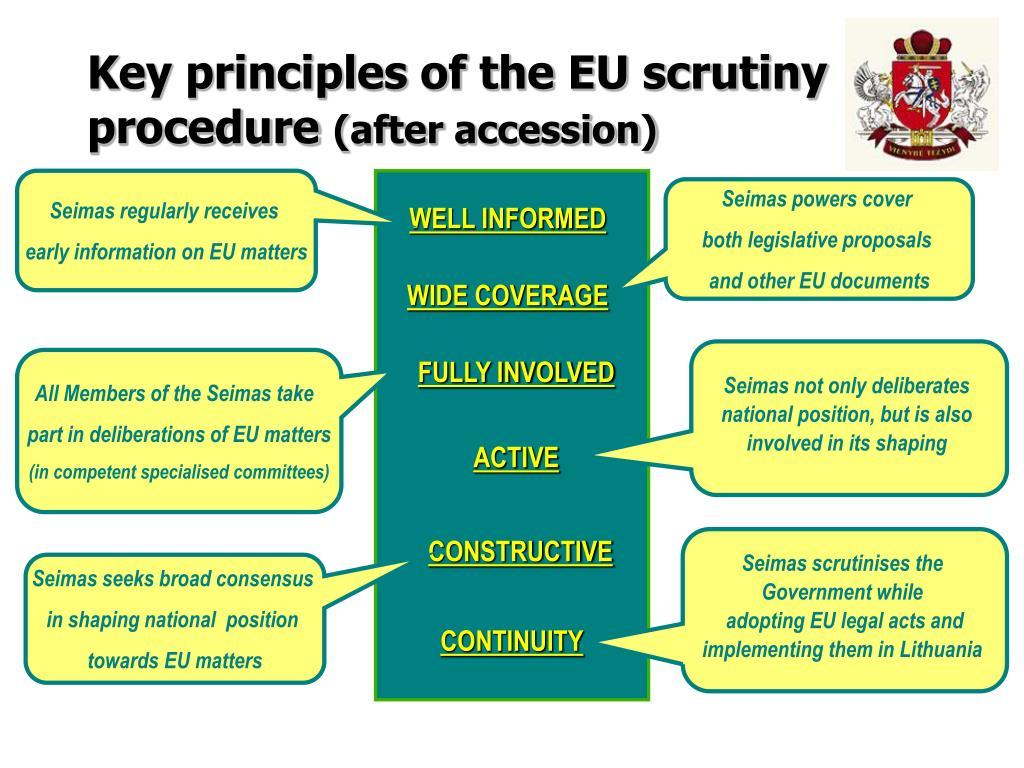 Key principles of the EU scrutiny procedure