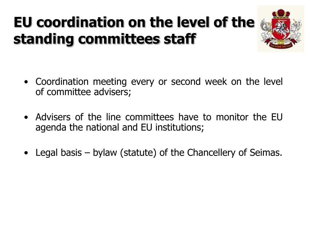 EU coordination on the level of the standing committees