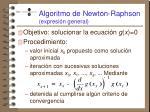 algoritmo de newton raphson expresi n general