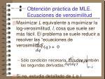 obtenci n pr ctica de mle ecuaciones de verosimilitud