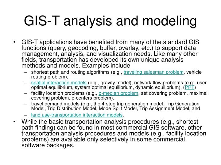 GIS-T analysis and modeling