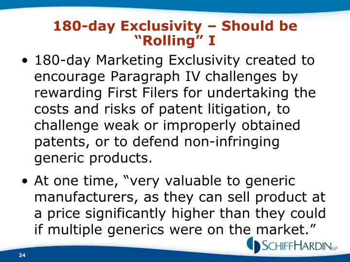 """180-day Exclusivity – Should be """"Rolling"""" I"""