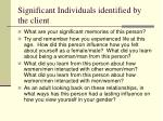 significant individuals identified by the client