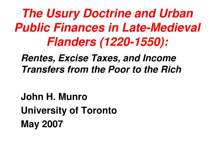 the usury doctrine and urban public finances in late medieval flanders 1220 1550 n.