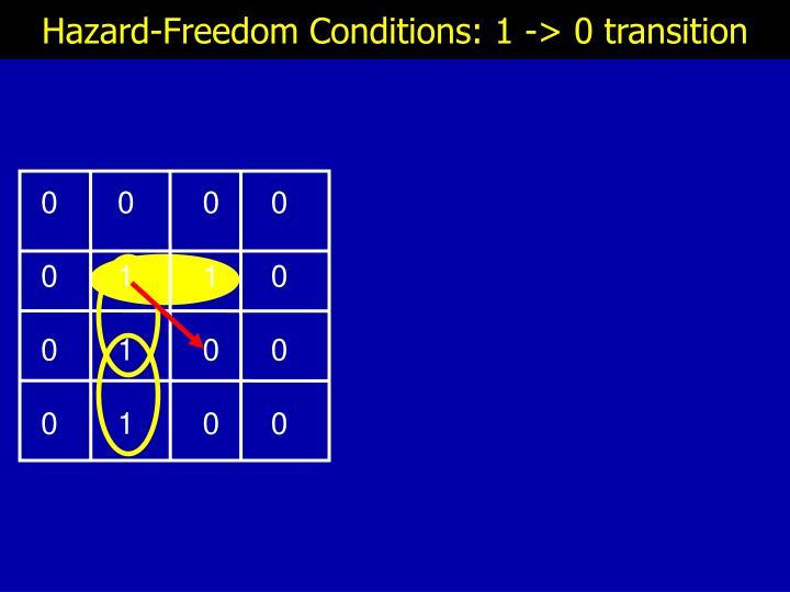 Hazard-Freedom Conditions: 1 -> 0 transition