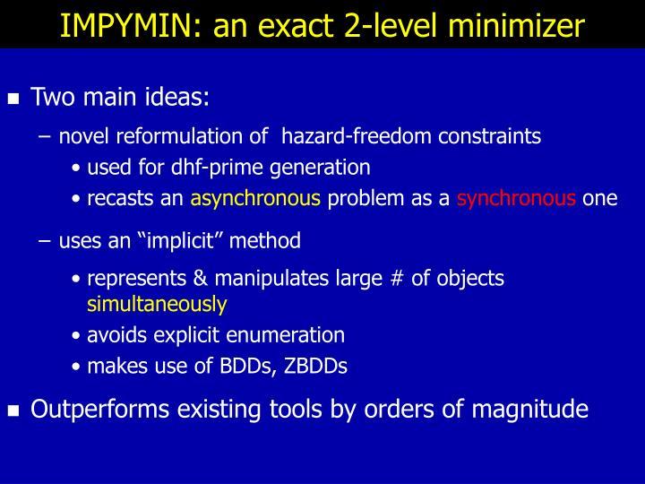 IMPYMIN: an exact 2-level minimizer