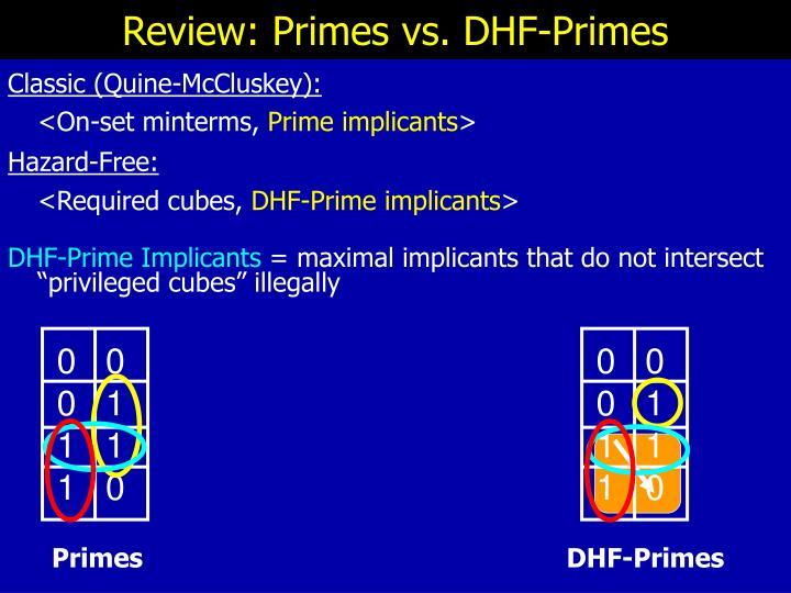 Review: Primes vs. DHF-Primes