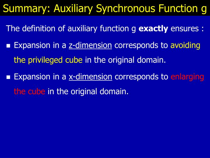 Summary: Auxiliary Synchronous Function g