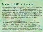 academic r d in lithuania