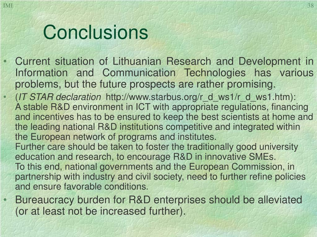 Current situation of Lithuanian Research and Development in Information and