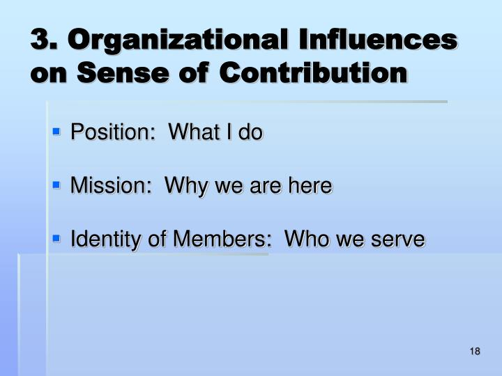 3. Organizational Influences on Sense of Contribution