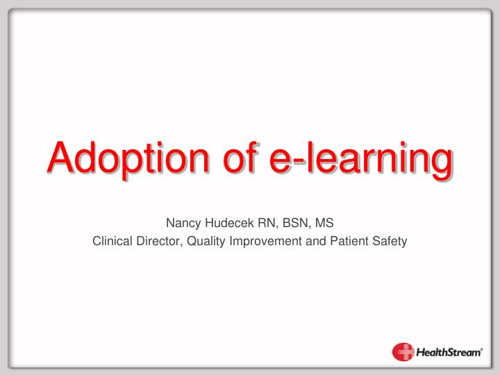 adoption of e learning n.